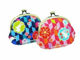 がま口 財布 3.3寸【矢絣花うさぎ】和柄 花柄 動物柄 てづくり 鎌倉てづくり屋