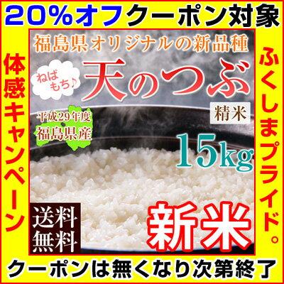 【クーポン使用で20%オフ】 新米 29年 米 15kg 送料無料 【 福島県産 天のつぶ 】 白米 精米済 【5kg×3袋】※店側でクーポンの後付けは出来ませんので、ご使用忘れにご注意ください。