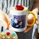 写真入りマグカップ+プリザーブドフラワーのセット 母の日 父の日 敬老の日 誕生日プレゼント 名入れ 名前入り 還暦祝い 記念日【送料…