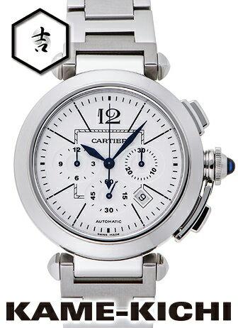 【中古】カルティエ パシャクロノ Ref.W31085M7 ホワイト (CARTIER Pasha Chronograph)【楽ギフ_包装】