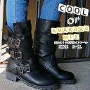 carol sister 3355 ブラック 3連ベルト付きエンジニアブーツ レディース BOOTS ミドル丈 クール BLACK ワーク系 クール カジュアル