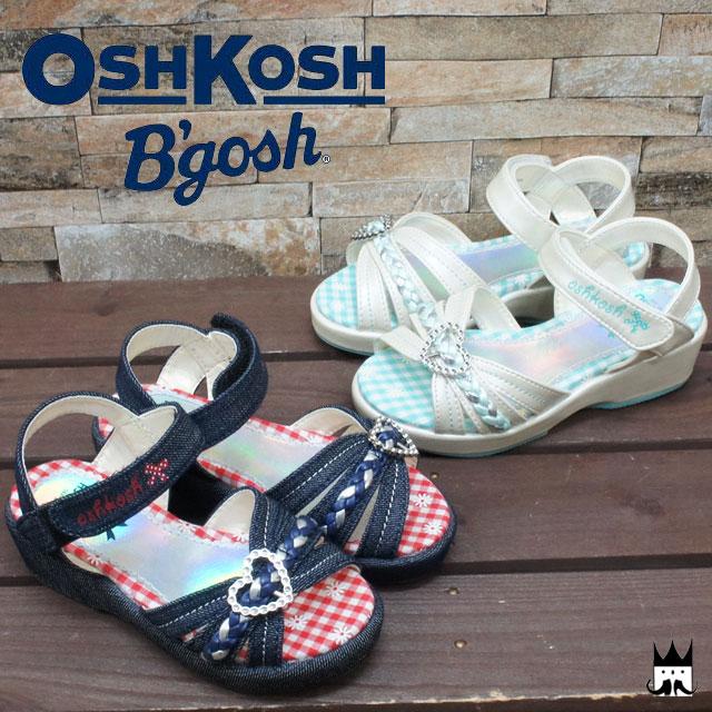 オシュコシュ OSHKOSH 女の子 子供靴 キッズ チャイルド サンダル ハート バックル ガールズ 女児 ヒール約3.5cm 花柄 ギンガムチェック マジックテープ ネイビー ホワイト C400 evid spsm