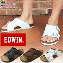 エドウィン EDWIN メンズ サンダル EW9104 コンフォートサンダル フットベッドサンダル ブラック ダークブラウン ホワ…
