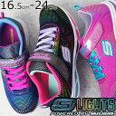 スケッチャーズ キッズ ジュニア 女の子 光る靴 10959L ブラック ネイビー ピンク SKECHERS evid