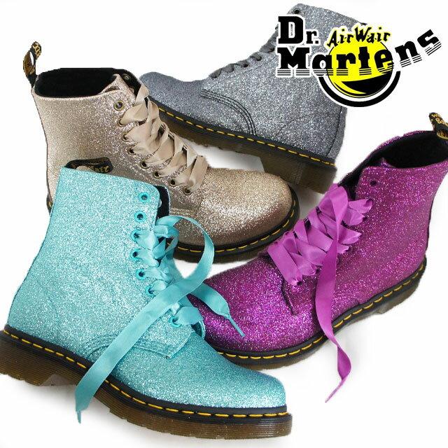 【送料無料】(一部地域除く)ドクターマーチン Dr.Martens メンズ レディース 8ホール 1460 グリッター レースアップ ブーツ パープル ターコイズ ゴールド シルバー evid
