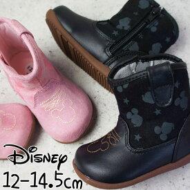 ディズニー Disney ベビー キッズ ブーツ DN B1151 女の子 男の子 ウエスタンブーツ ミッキーマウス ブラック ピンク ムーンスター evid  1