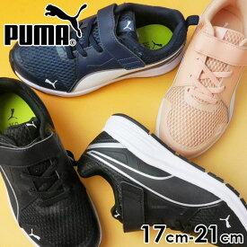 プーマ ピュア ジョガー V PS スニーカー 女の子 子供靴 キッズ ジュニア 370576 ローカット ベルクロ ランニングシューズ 運動靴 PUMA evid