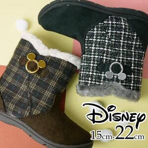 ムーンスター ミッキーマウス キッズ ジュニア ブーツ 女の子 子供靴 ショートブーツ サイドゴアブーツ ボア付き ぺたんこ チェック柄 ツィード調 ブラウン ブラック ショート丈 ディズニー