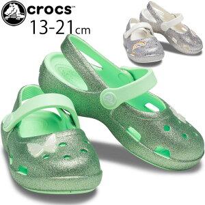 クロックス 女の子 子供靴 ベビー キッズ ジュニア サンダル クラシック グリッターチャーム メリージェーン k カジュアル フラットシューズ 靴 ネオミント レインボー 206370 crocs プレゼント