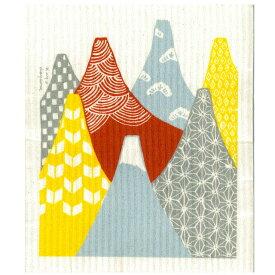 ごあいさつワイプ 富士山 おのし付き 赤FUJI オレンジ e.スポンジワイプ サステナブル セルロース ふきん 誕生70年 スウェーデン 木から生まれた 土に還る素材 天然素材