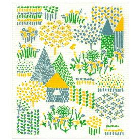 e.スポンジワイプ 点と線模様製作所 夏の村 岡理恵子 サステナブル セルロース ふきん 誕生70年 スウェーデン 木から生まれた 土に還る素材 天然素材