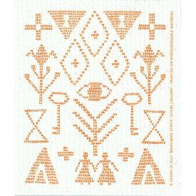 e.スポンジワイプ サーナ ヤ オッリ カレワラ オレンジ サステナブル セルロース ふきん 誕生70年 スウェーデン 木から生まれた 土に還る素材 天然素材