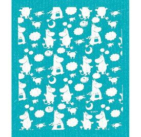 e.スポンジワイプ ピルビ&ムーミン ホワイト/ターコイズ トーベ・ヤンソン サステナブル セルロース ふきん 誕生70年 スウェーデン 木から生まれた 土に還る素材 天然素材