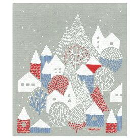 e.スポンジワイプ 点と線模様製作所 冬の村 岡理恵子 サステナブル セルロース ふきん 誕生70年 スウェーデン 木から生まれた 土に還る素材 天然素材