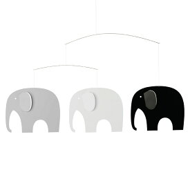 Flensted Mobiles フレンステッド・モビール Elephant Party エレファントパーティ ブラックホワイト 動く彫刻 アート デンマーク 北欧 雑貨 インテリア 知育玩具 リラックス ギフト 出産祝