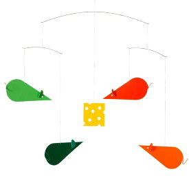 Flensted Mobiles フレンステッド・モビール Cheese Mice チーズマイス グリーン レッド オレンジ 動く彫刻 アート デンマーク 北欧 雑貨 インテリア 知育玩具 リラックス ギフト 出産祝