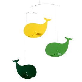 Flensted Mobiles フレンステッド・モビール Happy Whales ハッピーホエールズ グリーン イエロー 動く彫刻 アート デンマーク 北欧 雑貨 インテリア 知育玩具 リラックス ギフト 出産祝