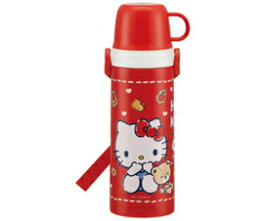 ハローキティ[HelloKitty]キャップ替えて「コップ」と「直飲み」使分け超軽量・コンパクト2WAY中栓ステンレスボトル(保温・保冷水筒)(STGC6N/435973)