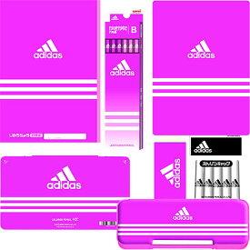 【色鉛筆12色も入ったセット!】アディダス(AI)[adidas]ピンク柄文具セットかきかた鉛筆B(ダース入)+色鉛筆12色 文具7点セット(16adipk_7set_b+12c)【鉛筆名入れ無料】