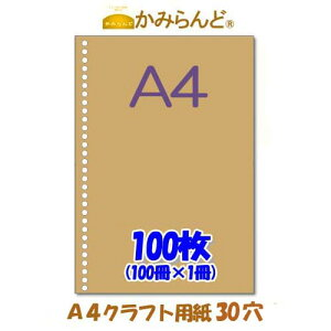 【A4】30穴入り100枚パッククラフト未晒 ファイル用バインダー用30穴 ルーズリーフ 書類の整理に便利