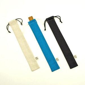 コットンリネンの細長い巾着袋(ものさし入れ)★大人の綿麻キャンバス 5×30cm Made in Japan