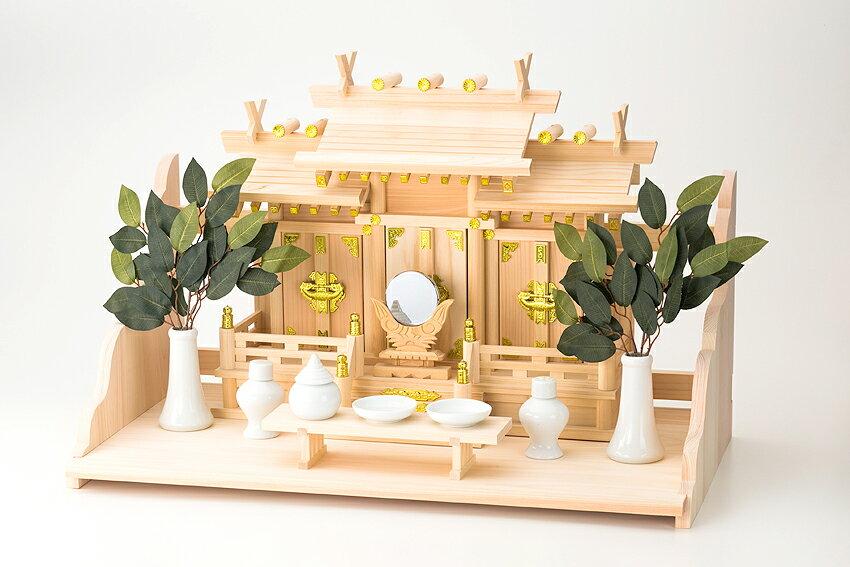神棚 屋根違い三社 なごみ(小)大和棚板セット【送料無料】