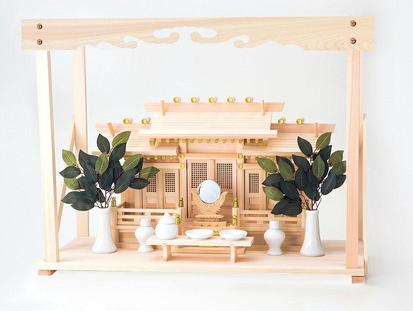 神棚 屋根違い三社 開運総ひのき幕板付棚板セット
