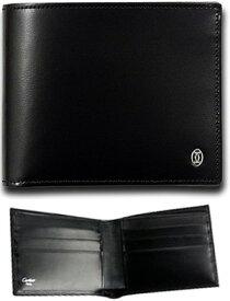 Cartier 二つ折り財布 札入れカルティエ CCロゴプチプレートカウハイドブラックレザーパシャドゥ2つ折り財布カードケース 小銭入れなし新品未使用【中古】PASHA CARD WALLET