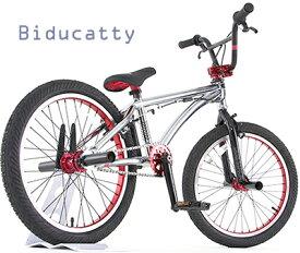 ペグ搭載20インチ自転車 BMXクロームシルバー14ミリ規格アクスルシャフト&フリーコースターハブ&ジャイロ&3ピースクランクを採用した本格派バイシクルモトクロスレッドギア&ハブ&ハンドルステム&リム