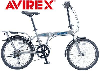 AVIREX アビレックス シルバーリアキャリア付き折り畳み20インチ自転車ワンポイントキャリーカバー付きLEDライト&シマノ製6段変速ギア車のトランクにもスッポリ!折り畳み可能カバー付きリアキャリア折りたたみ自転車AIR FORCE CALIFORNIA
