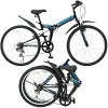 Folding 26 inch bicycle mountain bike-Shimano 7-speed gear equipped with step shock-absorbing ダブルサス suspension with contrast design black red green W South & fold folding pedal around wheels V brakes adopted FOLDING MTB