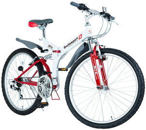 折りたたみ26インチ自転車マウンテンバイク MTB段差衝撃吸収ダブルサスペンションシマノ製TOURNEY18段変速ギア搭載Wサスペンション折り畳み式サイクルホワイト×レッドアクセントスポークSHIM