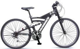 HUMMER ハマーマウンテンバイクMTB 26インチ自転車ツインチューブアルミフレームの極太アルミフレームを採用!まさに強靭なイメージをそのままダウンヒルフォーク ダブルサスペンションシマノ製18段変速ギア搭載グリーン イエロー ブラック