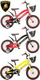 LAMBORGHINI ランボルギーニ子供用補助輪付き16インチ自転車フロントバスケットキッズバイク 幼児車泥除けフェンダー安心フルチェーンカバージュニアバイクランボルギニーロゴサドルレッド イエロー ブラックLAM-KIDS16AL OS302021