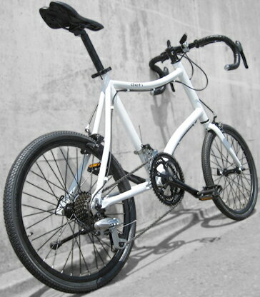 富士フレーム ミニベロ20インチ自転車軽量アルミフレーム仕様シマノ14段変速ギアブルホーンドロップハンドルオンロードクロスバイク タウンユースライン前後輪アルミ製クイックリリース採用ブラック ホワイト走りに自信あり!