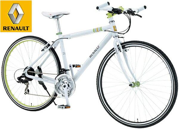 RENAULT ルノー 700C 約27インチ自転車スタイリッシュハンドルバーエンドアルミフレーム仕様 シマノ製21段変速シティーサイクル クロスバイクCROSSBIKE ホワイト