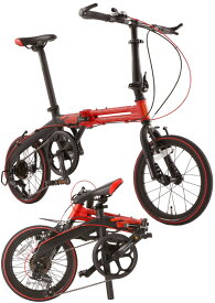 16インチ折りたたみ自転車軽量アルミパラレルツインフレーム仕様シマノ製7段変速ギア搭載レッド×ツートンカラーワイヤーエルゴノミックグリップ&ストレートフォークハンドル高さ調整可能ロングシートポスト レッドラインスリックタイヤ