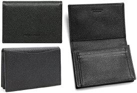 BVLGARI ブルガリ二つ折りカードケース背面ポケット付き名刺入れ名刺ケース クラシコブラックグレインカ−フレザーCARD CASE CLASSICOGRAINE CALF LEATHER