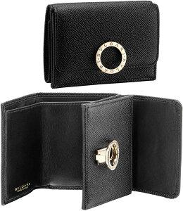 BVLGARI ブルガリブルガリ小銭入れ付きコンパクトウォレットブラックグレインカーフレザー×ナッパロゴ刻印リング2つ折り財布ロゴクリップクロージャーブラスライトゴールドさいふ サイフ