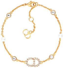 Christian DiorクリスチャンディオールラインストーンCDロゴゴールドチェーンブレスレットホワイトクリスタルパールホワイトビーズCDロゴエンドプレートBRACELET GOLDD301GDサイズ調整可能 腕輪