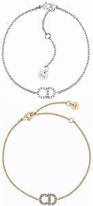 Christian DiorクリスチャンディオールラインストーンCDロゴチェーンブレスレット×CDロゴプレートロゴ刻印ラウンドプレート ゴールドホワイトクリスタル シルバーパラジウム仕上げLN BRACELET GOL