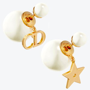 Christian Dior ピアスクリスチャンディオールイニシャルCDロゴ&スター真珠の落ち着いたデザイントライバル ホワイトレンジパールイニシャルロゴ&星スイングチャームゴールド PIERCED301GD耳元