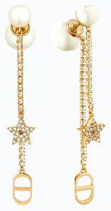 Christian Diorクリスチャンディオールスター&イニシャルCDロゴホワイトレジンパールピアスゴールドスイングメタルチェーン耳元のアクセントに トライバル星&真珠モチーフ PIERCED D301GD