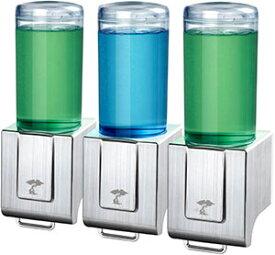 壁固定の洗剤ポンプ ダブル トリプル片手で食器用洗剤やハンドソープを出せるレバーの押し加減で量を調整透明ボトルで中身が見えるローションや液体石鹸、シャンプー、ボディーソープなどにソープディスペンサー邪魔にならない壁掛けタイプ