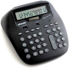 シックトーンスタイル計算機 ブラック×グレー仕事場でもデザインにコダワルならコレ Calculatorイタリアンデザイン カリキュレーター 電卓モナリザモチーフのふくよかなラインフォルム有機的な直線が印象的なの電卓 12桁大型液晶