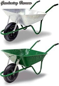 砂や砂利を一気に運ぶ!ブリティッシュバロー エアータイヤ仕様ガーデニング1輪車イギリス製だからこのデザイン公園の砂場遊びに必須!一輪車 手押し車バロウグリーン シルバー ホイー