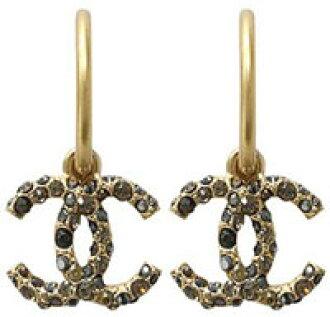 3090a4398 kaminorth shop: CHANEL Chanel earrings CC Coco mark logo rhinestone gold x  accents black ear A35238Y02003 Z3058 | Rakuten Global Market