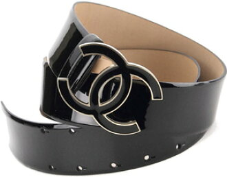 chanel belt. chanel chanel belt black enamel-patent leather unisex cc in coco mark buckle mens womens a52952 52952