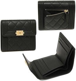 952f049c3a19 CHANEL シャネル レディース小銭入れ付き三つ折り財布ブラック×ゴールド CCロゴプレートキャビア