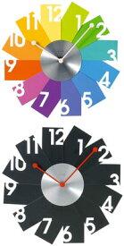 トランプを花びらみたいに開き合わせたデザインのカードウォールクロックカラフル ブラック 放射状掛け時計 ウォールクロックグラデーション ダークマルチ パステル アイボリーRadial Card Wall Clock